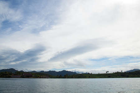 Sky, mountain and river views of nature. The Sangklaburi. In the early morning hours. photo