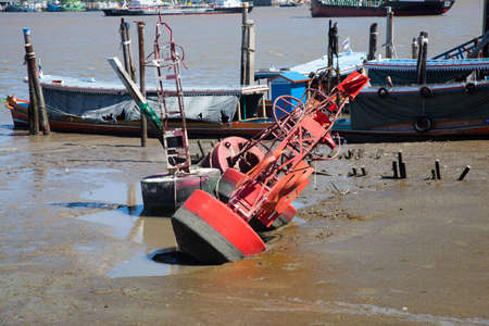 Measured water level buoy  Were left by the river  Shipping docks  Stock Photo - 20405705