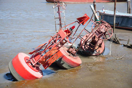 Measured water level buoy  Were left by the river  Shipping docks Stock Photo - 20405702