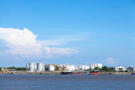 Oil storage facility. Located in the Port River. Transportation and storage of oil transportation. photo