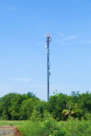 Telecommunications antenna. The station is located in an area covered with tall trees. photo