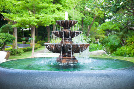 fountain in the garden. Trees of various sizes and types. The trees. Stock Photo