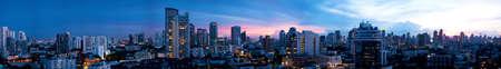 bangkok city: Panorama Bangkok city at evening.View from the buildings. See tall buildings in bangkok city.