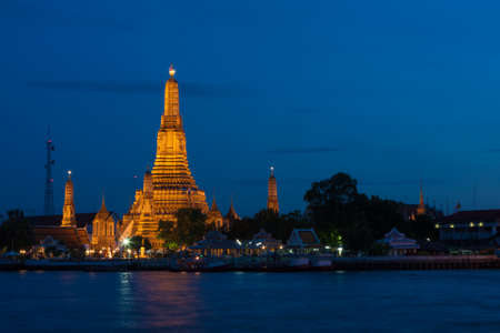 Wat Arun at night. The famous attractions of Thailand. Thailand's national religion is unique. photo