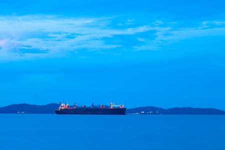 Ships in the morning. Moored to the ocean freight at the docks in the morning. photo