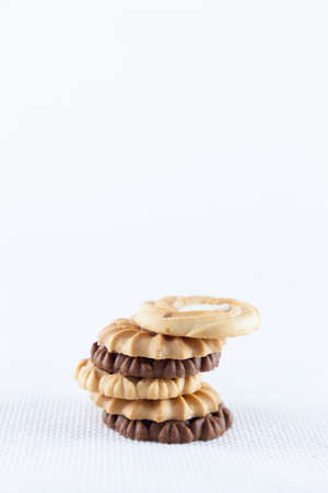 packshot: cookie on white isolated.white background in studio packshot. Stock Photo