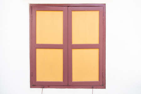 Old wooden windows The white walls Simple design photo