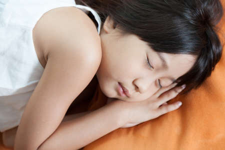Girl was sleeping.child Asian women with long hair. photo