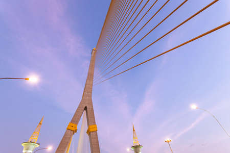 lamp post: Rama VIII Bridge in the evening Clear and dark skies