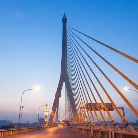 Rama VIII Bridge in the morning. Clear and dark skies