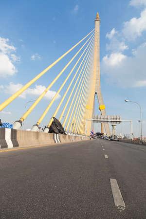 Road on the Rama VIII Bridge in Daytime