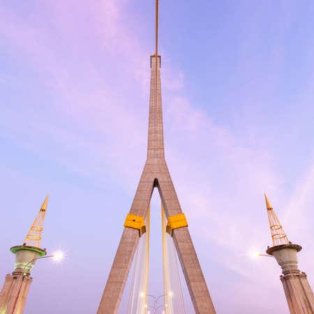 Rama VIII Bridge in the evening