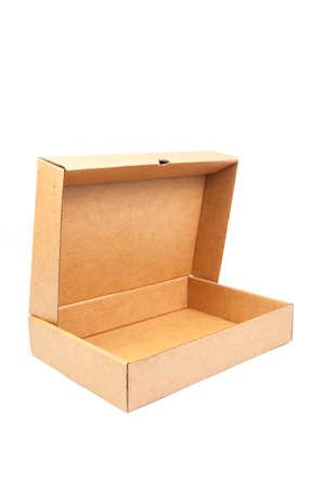 deployed: Brown paper box on white background. Rectangular paper box on a white background. Can be deployed easily. Stock Photo