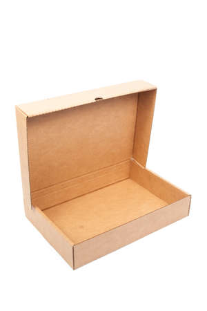 Brown paper box open on white isolated background.