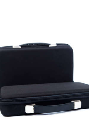 black briefcase: Two black briefcase on white isolated background.
