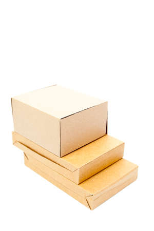 Brown boxes paper overlay on white isolated background.packshot on studio. photo