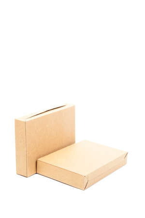 Two brown paper boxes on white isolated background. photo