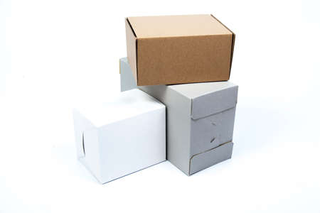 paper box on white isolated background.packshot in studio. photo