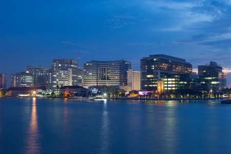 Siriraj Hospital in the evening Chao Phraya River.