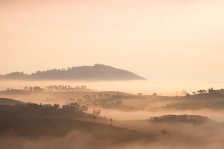 Mountain and fog in the morning. Mountain complexes with sunlight in the morning. photo