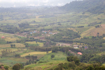 zoning: Agricultural areas in the mountains. Zoning, agricultural plantations on forest land from the villagers. Stock Photo
