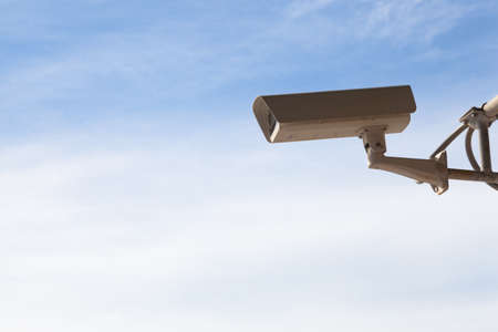 security technology: CCTV. Technology security surveillance camera was mounted on a pole.