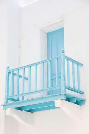 balcony door: Balcony door walk out terrace of Hotel Blue. Blue wooden balcony Stock Photo