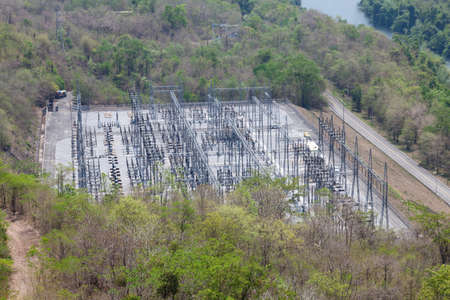 dams: Power plant. Electricity from hydropower dams station located below the dam. Stock Photo