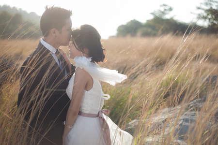 femme romantique: Couple embrasser au milieu des prairies, chaud et sec. Couples romantiques Banque d'images