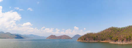 catchment: Panorama dam catchment Central bright clear sky on a hot day.