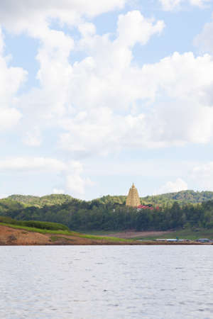 catchment: Pagoda temple at Sangklaburi in the mountains and near the dam catchment.