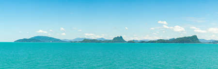 mountains and sky: Panorama mountains, sky and sea. The nature of the Gulf of Thailand and beautiful tourist destinations in Thailand.
