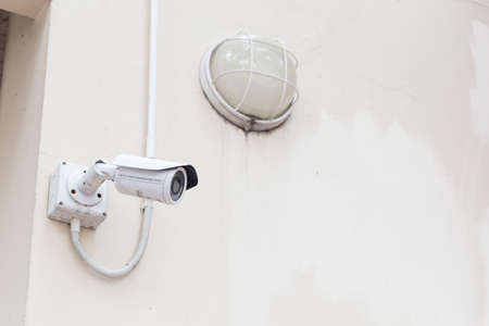 security check: CCTV camera mounted on the ceiling and wall. For security check