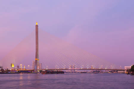 viii: Rama VIII bridge Bangkok city in sunset. cloud cover sky in evening.
