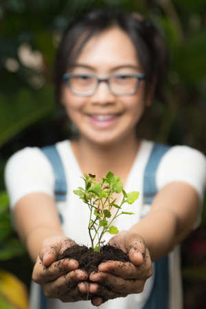 maintaining: Woman holding and caring for trees. Maintaining the natural tree. Environmental in nature