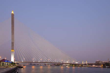 viii: Rama VIII bridge in dusk. In Bangkok city.