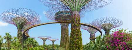 SINGAPORE - APRIL 10, 2016: Supertree Grooves over the blue sky. Supertree Grooves located in Garden by the Bay, Singapore.