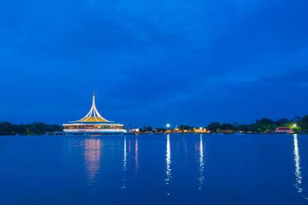 ix: Suan Luang Rama IX Park in the evening.