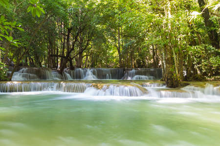 Huai Mae Khamin Waterfall It is a layer from the top down. Stock Photo