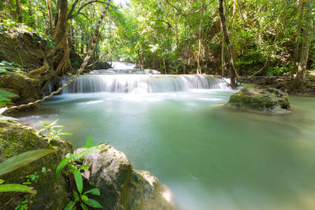 flowing water: Huai Mae Khamin Waterfall It is a layer from the top down. Stock Photo