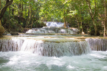 khamin: Huai Mae Khamin Waterfall It is a layer from the top down. Stock Photo