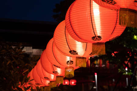 Red lantern decorated during Chinese New Year To decorate at night Banco de Imagens