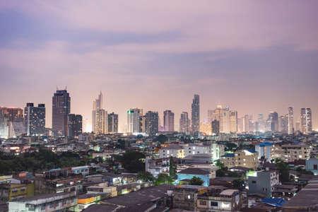 Skyscraper night in Bangkok city. building in city at night.