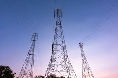 High voltage pole Electric wires transmit high voltage electricity through the pole which is higher than the general pole.