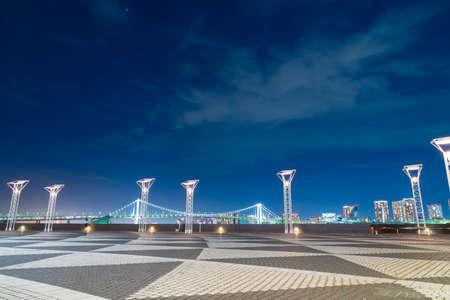 Rainbow bridge eveing in Tokyo city. Twilight and dusk in Tokyo city at Rainbow bridge.