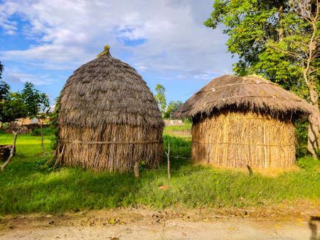 Hut made from tree leaves and sticks in village Used for animal food storage