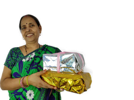 Woman holding gift box present happy and beautiful