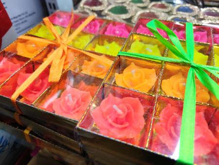 colourful beautiful Earthen decorative diya or deepak packed for sale.
