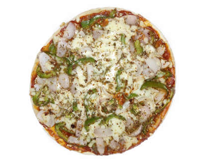 Pizza top view isolated on white background