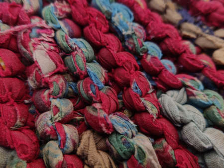 Textured Woven colourful abstract background closeup of threads Stock fotó